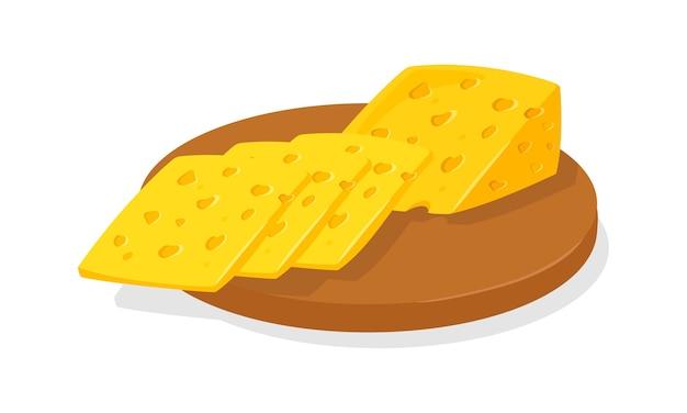 구운 스위스 또는 네덜란드 노란색 다공성 치즈 조각