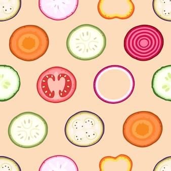 ピンクの背景に野菜のスライスベクトルイラストの背景にシームレスパターン