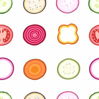白い背景の上の野菜のスライスベクトルイラストの背景のシームレスなパターン