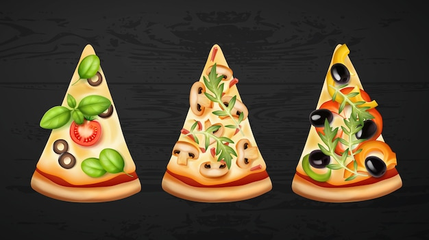 Slices of pizza with three variants of fillings
