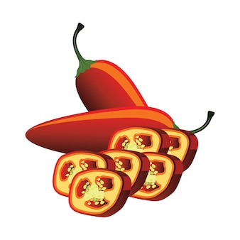 Slices of raw green jalapeno pepper. vector illustration