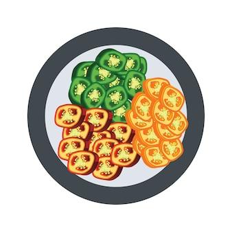 切片未加工的墨西哥胡椒胡椒。矢量图