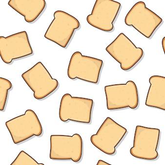 白い背景の上のスライストーストパンシームレスパターン。ベーカリーペストリー製品アイコンベクトル図