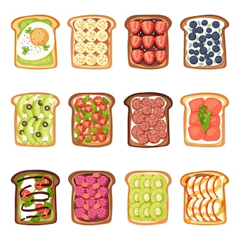 Slices of toast with butter jamflat cartoon style vector illustration.