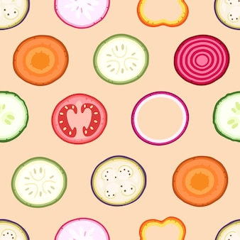 Slices of vegetables on a pink background seamless pattern on vector illustration background