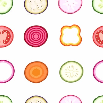 Slices of vegetables on a white background seamless pattern on vector illustration background