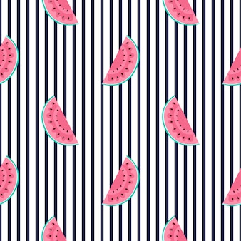 Slices of watermelon. vertical stripes summer seamless pattern.