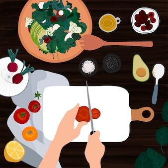 トマトをスライスしてサラダを作る