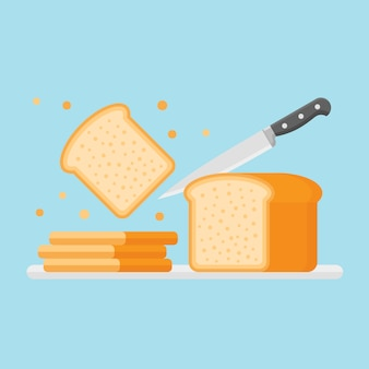 Slicing toast bread with knife in flat style.