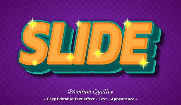 Slide 3d editable text style effect