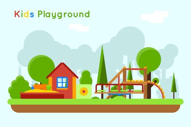 すべり台と砂場の遊び場。屋外と砂、おもちゃの子供時代