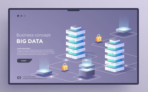 Slide hero page or digital technology banner big data business concept isometric vector