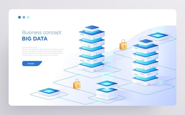 Слайд-страница героя или баннер цифровых технологий бизнес-концепция больших данных изометрический вектор