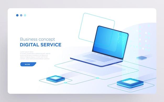 Слайд-страница героя или баннер цифровых технологий бизнес-концепция цифровых услуг изометрический вектор