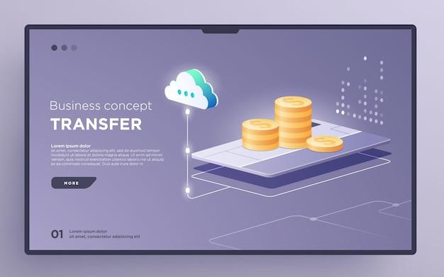 Слайд-страница героя или баннер цифровых технологий. бизнес-концепция денежных переводов изометрический вектор