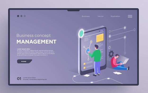 Слайд-страница героя или баннер цифровых технологий бизнес-концепция управления проектами