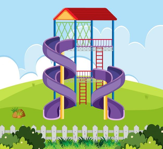 Slide house in playground