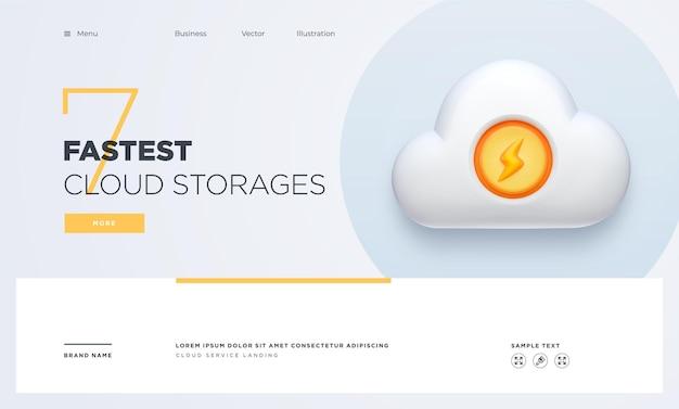 Slide landing page or digital technology banner cloud service business concept vector