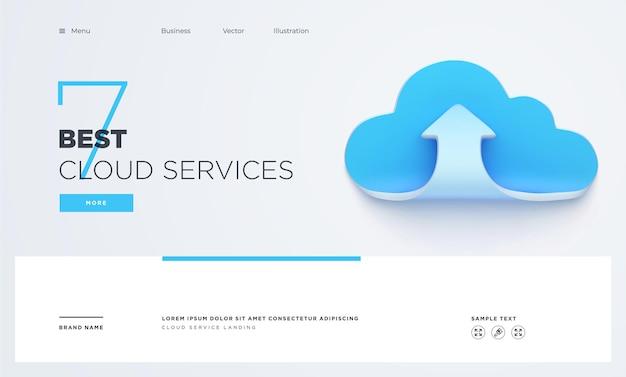 Слайд целевой страницы или цифровых технологий баннер облачных услуг бизнес концепции вектор