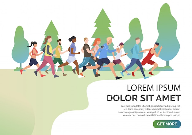 Slide page with people jogging together in park
