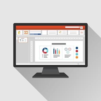コンピュータ画面上のスライドショープレゼンテーションソフトウェア。図とチャートを含むビジネススライドテンプレート。