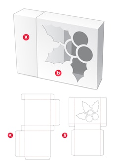 Sliding box with christmas holly shape windows die cut template