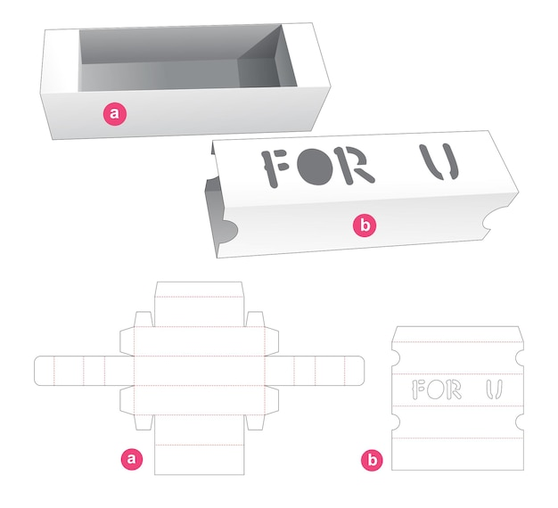 Sliding gift box with word stencil on cover die cut template