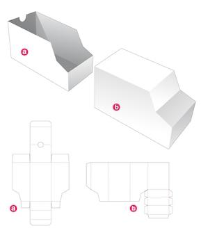 커버 다이 컷 템플릿이있는 슬라이딩 밴 모양의 상자