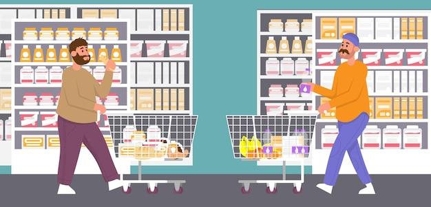날씬하고 뚱뚱한 남자는 슈퍼마켓에서 음식을 선택하여 비만 건강하고 건강에 해로운 생활 방식을 트롤리합니다.