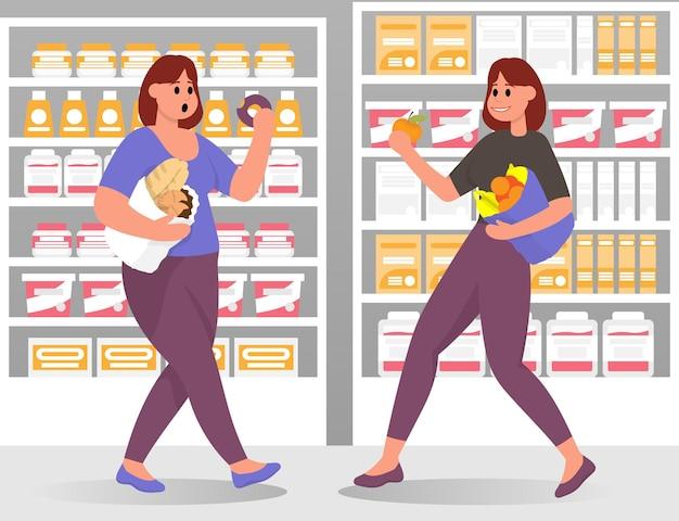 날씬하고 뚱뚱한 여성은 슈퍼마켓에서 음식을 선택합니다. 비만 건강하고 건강에 해로운 생활 방식