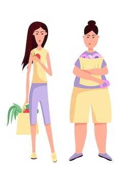 종이 봉지를 들고 슈퍼마켓에서 음식을 선택하는 날씬하고 뚱뚱한 여자. 비만. 건강하고 건강에 해로운 생활 방식. 야채와 과일 vs 도넛, 빵, 아이스크림. 벡터 평면 컬러 일러스트