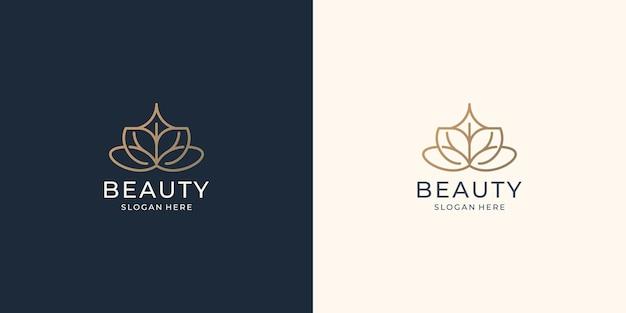 Тонкий шаблон логотипа красоты. творческие абстрактные линии арт стиль дизайн цветок роза вдохновение.