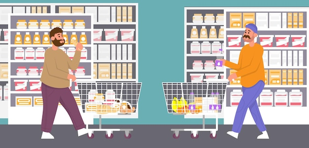 Slim and fat mans choices food in supermarket to trolley obesity healthy and unhealthy lifestyle
