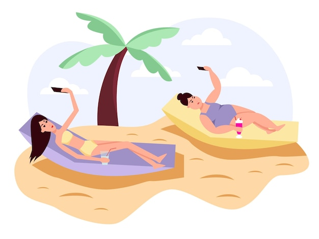 Slim and fat womans take selfies shoots selfi on phone for social networks. obesity. healthy and unhealthy lifestyle. color vector flat cartoon icon. concept for overweight.