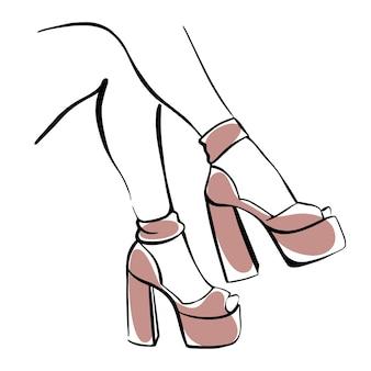 굽 높은 신발에 슬림 여성 다리입니다. 손으로 그린 벡터 패션 일러스트 프리미엄 벡터