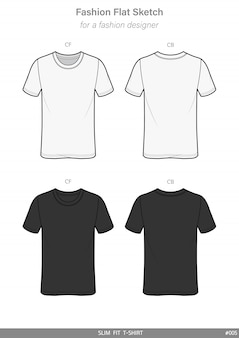 Slim fit tee shirt fashion flat technical drawing