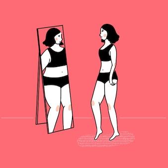 거울에 뚱뚱한 반사를 보고 슬림 소녀입니다. 섭식 장애 개념, 신체 이형. 분홍색 배경에 벡터 개요 그림입니다.