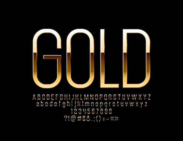 スリムなゴールデンアルファベット。エレガントな光沢のあるフォント。シックな文字、数字、記号。