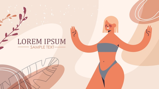 Slim toned girl in underwear beautiful woman standing pose love your body concept horizontal copy space vector illustration