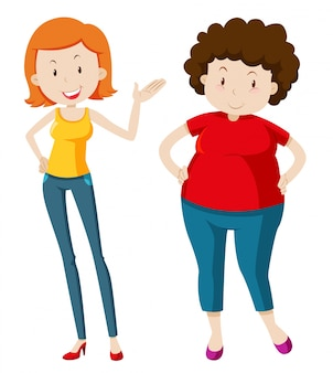 Slim woman and chubby woman