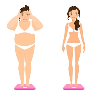 Slim woman and female overweight body on scale