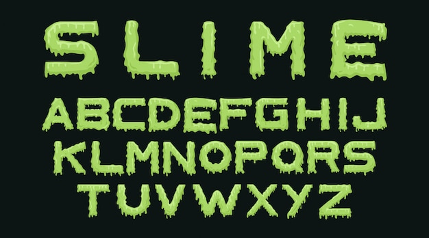 Slime alphabet typography set