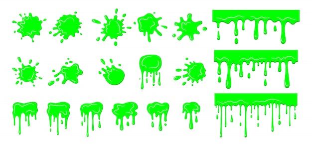 スライムドリップブロブ、飛び散りセット。コレクション緑色の汚れのはね、スライムのはねの滴り落ちた滴。ハロウィーンは液体を形作る。明るい緑の汚れ漫画フラット粘液。孤立した図