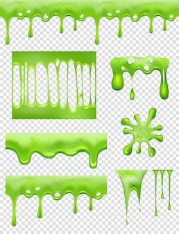 スライム。緑の接着剤の浸漬と流れる液体の滴と有毒な水しぶきの写真