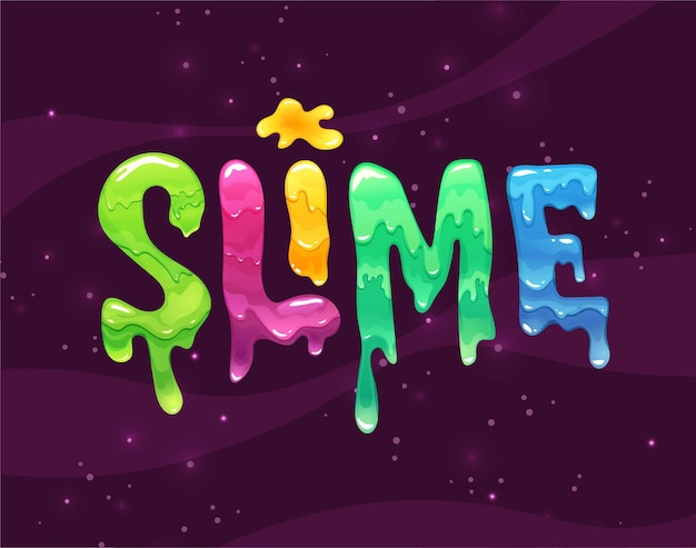 Slime hand lettering text. bright jelly letters.