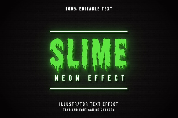 Slime neon effect,3d editable text effect green gradation neon text style