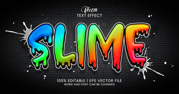 Slime text, colorful editable text effect style template