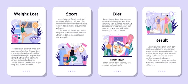 痩身プロセスモバイルアプリケーションバナーセット。負ける人