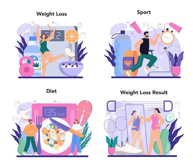 Slimming process set person losing weight with fitness exercise and healthy
