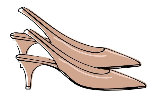 子猫のかかとの女性の靴のスリングバックの靴